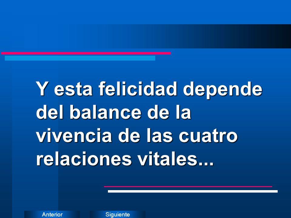 Y esta felicidad depende del balance de la vivencia de las cuatro relaciones vitales...