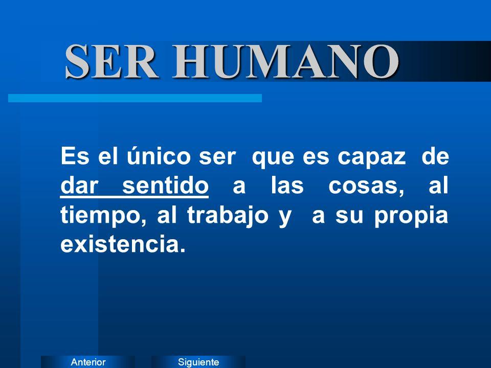 SER HUMANO Es el único ser que es capaz de dar sentido a las cosas, al tiempo, al trabajo y a su propia existencia.