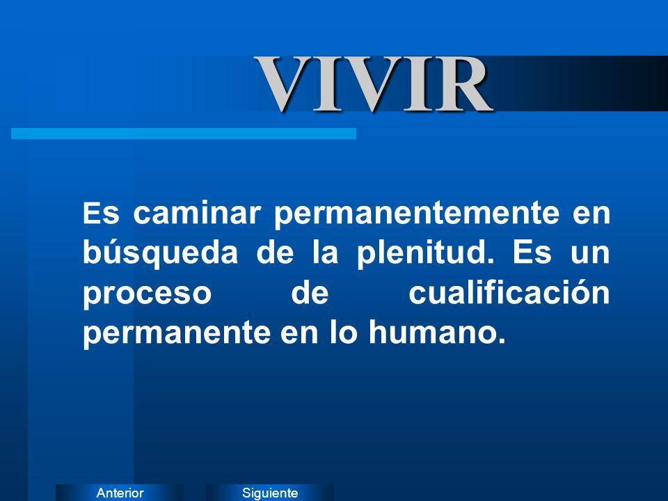 VIVIR Es caminar permanentemente en búsqueda de la plenitud.