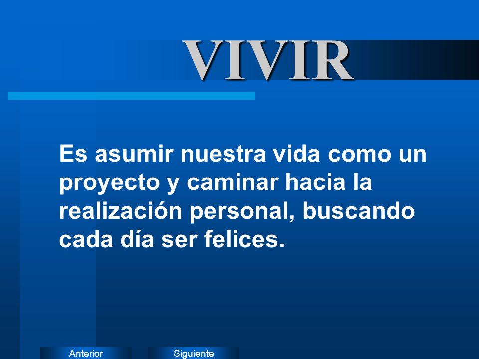 VIVIR Es asumir nuestra vida como un proyecto y caminar hacia la realización personal, buscando cada día ser felices.