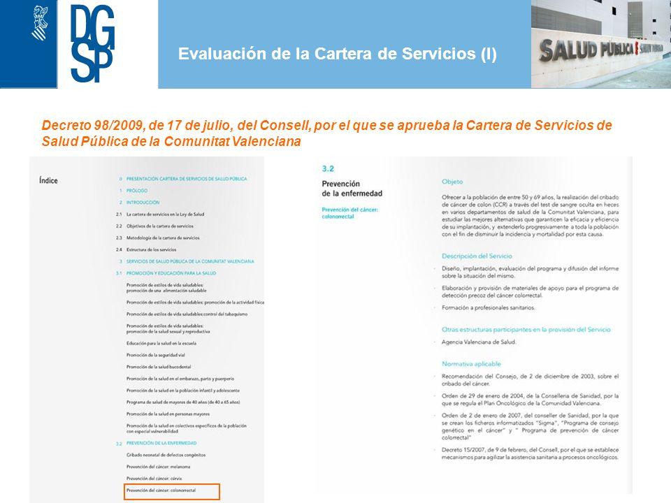 Evaluación de la Cartera de Servicios (I) 1