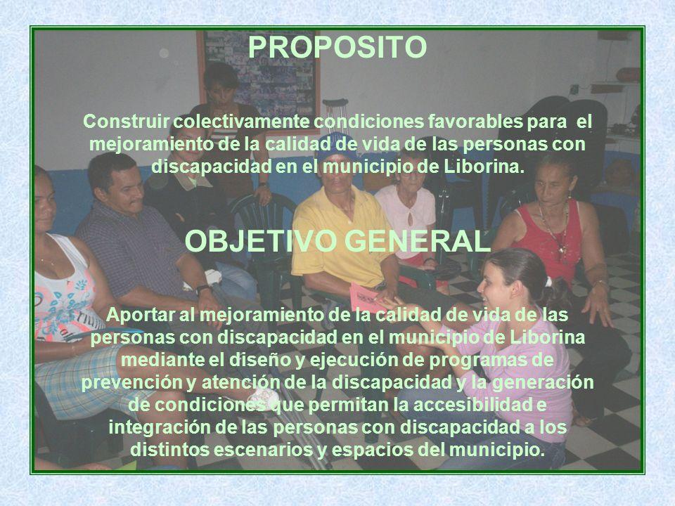PROPOSITO Construir colectivamente condiciones favorables para el mejoramiento de la calidad de vida de las personas con discapacidad en el municipio de Liborina.
