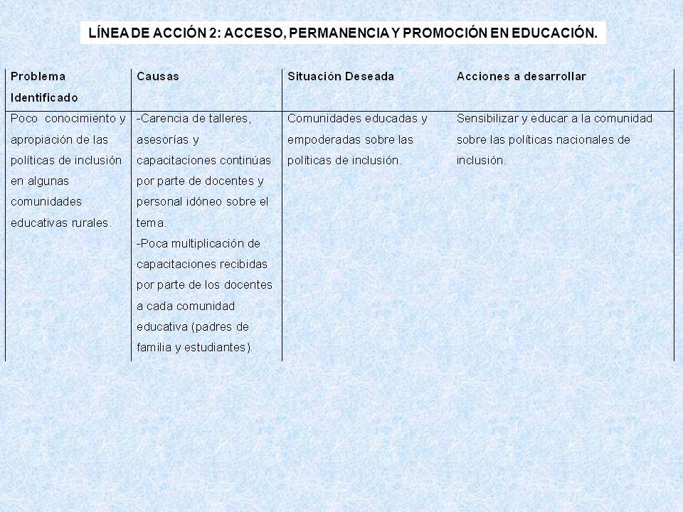 LÍNEA DE ACCIÓN 2: ACCESO, PERMANENCIA Y PROMOCIÓN EN EDUCACIÓN.