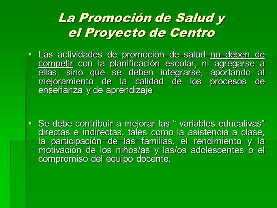 La Promoción de Salud y el Proyecto de Centro