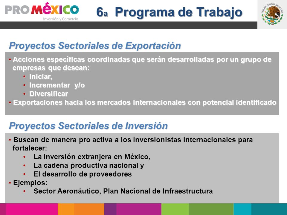 6a Programa de Trabajo Proyectos Sectoriales de Exportación