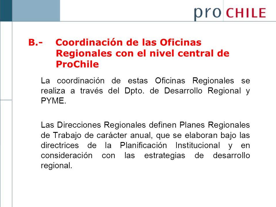 B. - Coordinación de las Oficinas. Regionales con el nivel central de