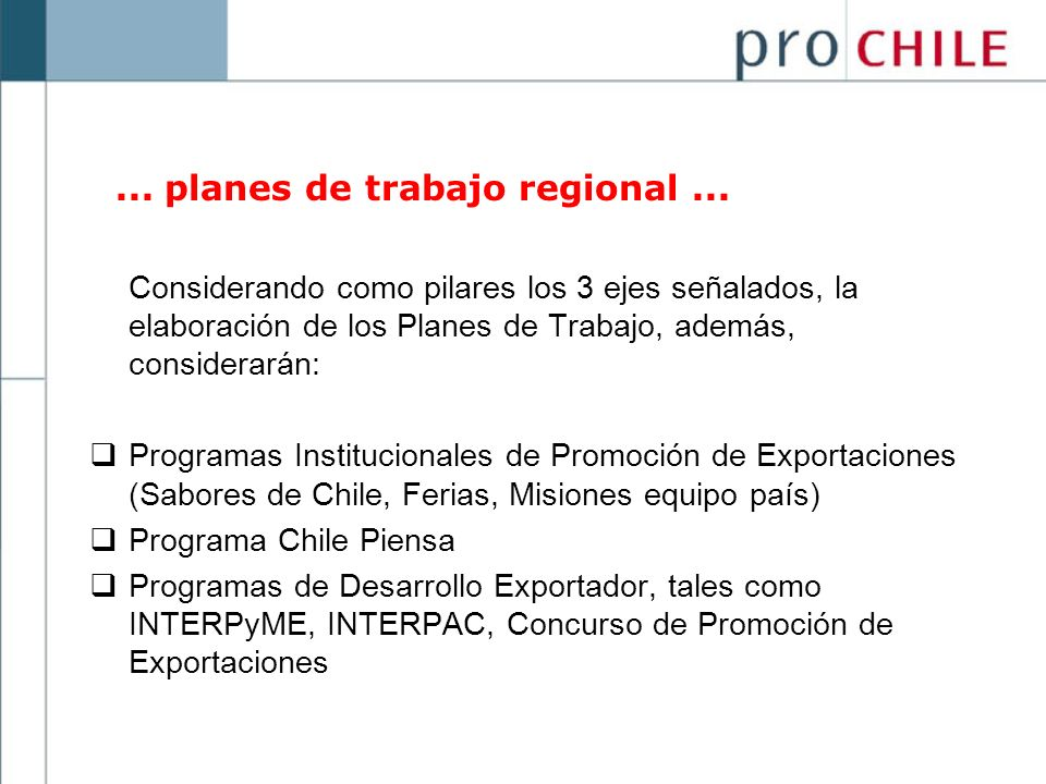 ... planes de trabajo regional ...