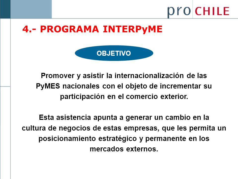 4.- PROGRAMA INTERPyME OBJETIVO. Promover y asistir la internacionalización de las. PyMES nacionales con el objeto de incrementar su.