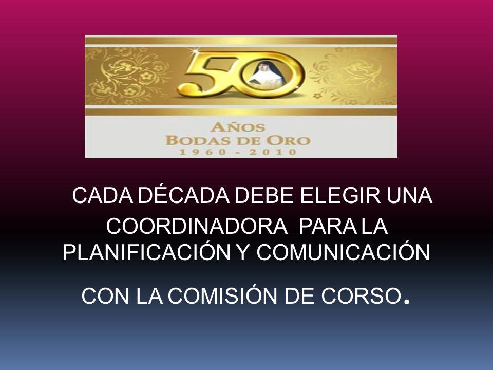 CADA DÉCADA DEBE ELEGIR UNA COORDINADORA PARA LA PLANIFICACIÓN Y COMUNICACIÓN CON LA COMISIÓN DE CORSO.