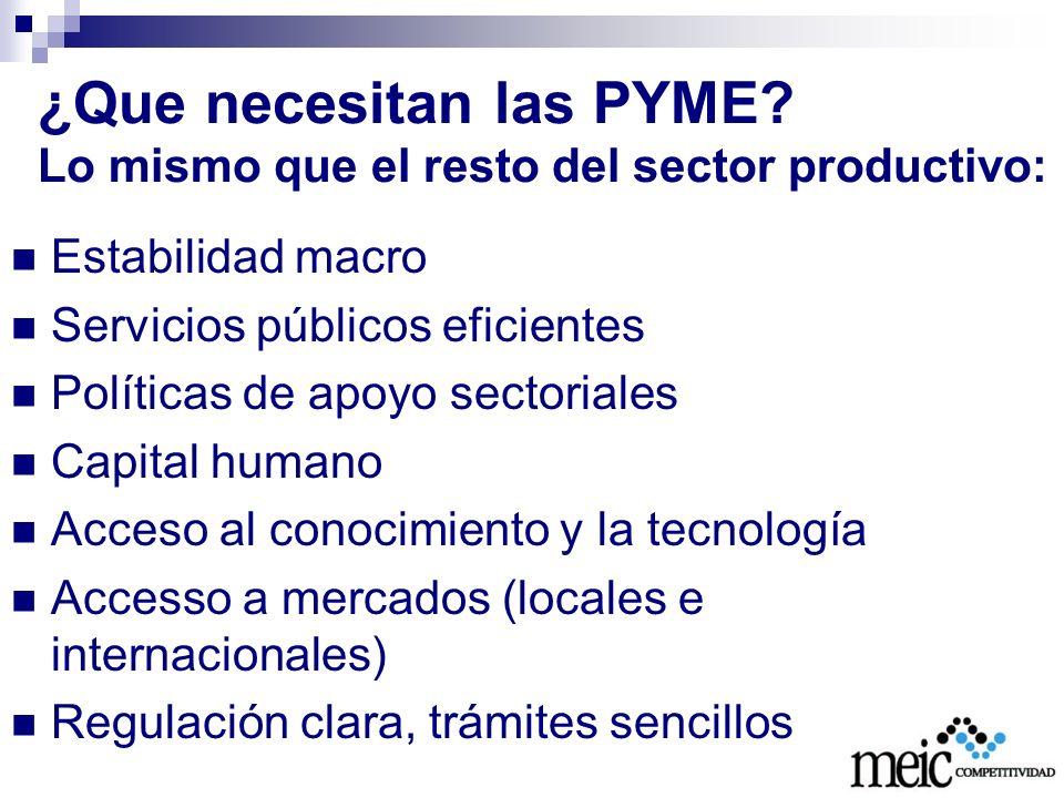 ¿Que necesitan las PYME Lo mismo que el resto del sector productivo: