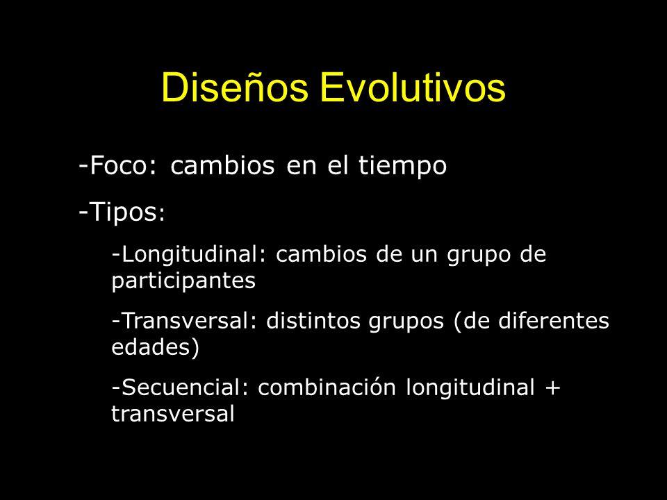 Diseños Evolutivos Foco: cambios en el tiempo Tipos: