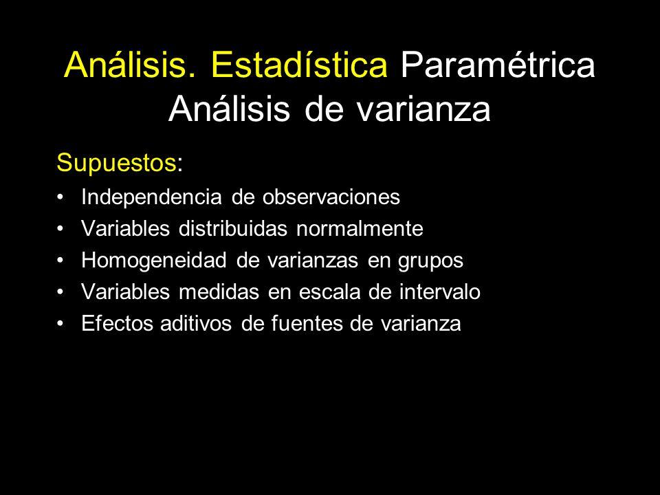 Análisis. Estadística Paramétrica Análisis de varianza