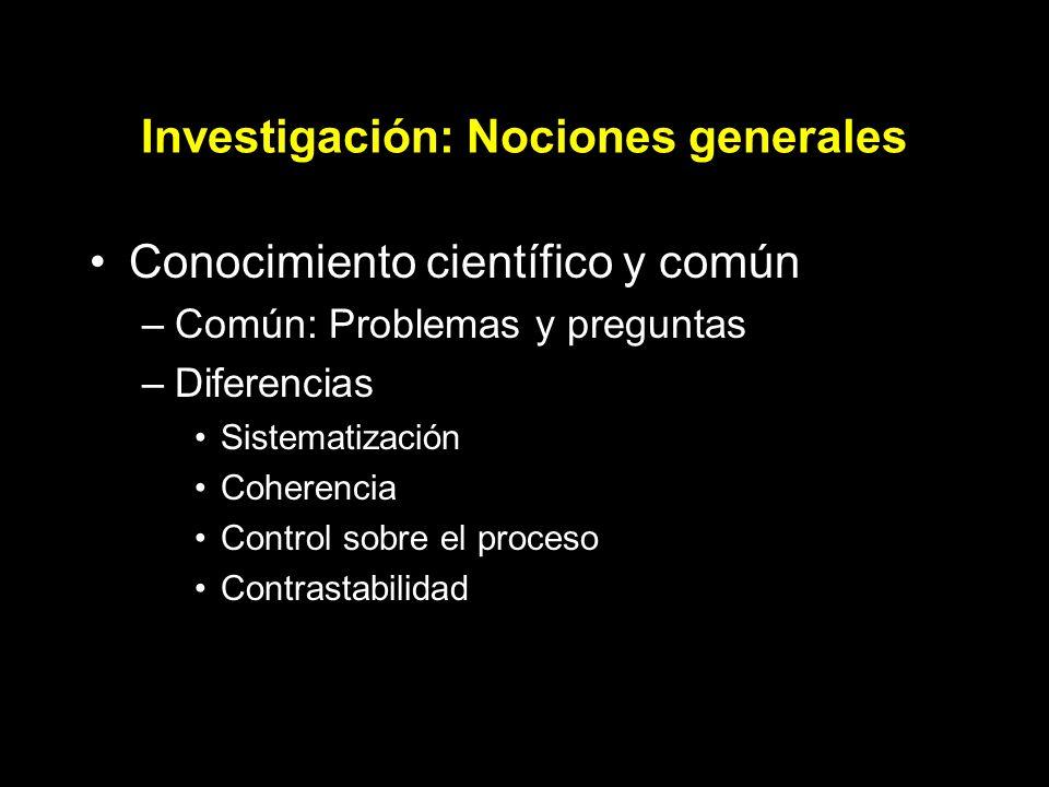Investigación: Nociones generales