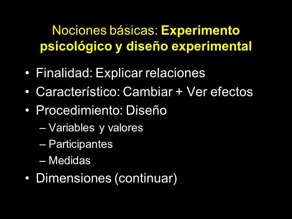Nociones básicas: Experimento psicológico y diseño experimental