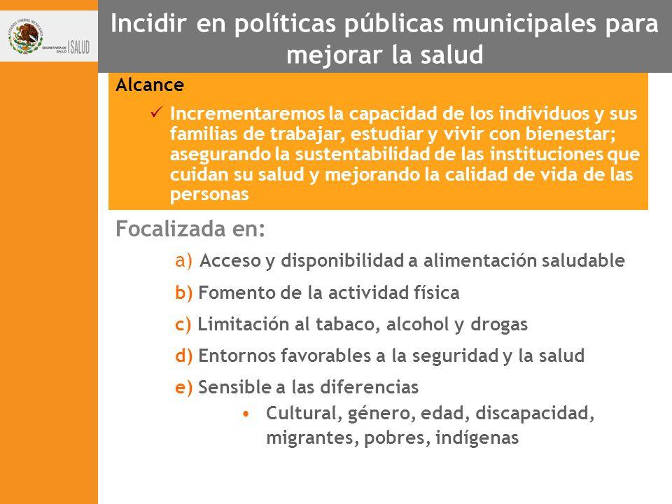 Incidir en políticas públicas municipales para mejorar la salud