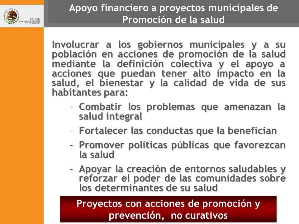Apoyo financiero a proyectos municipales de Promoción de la salud
