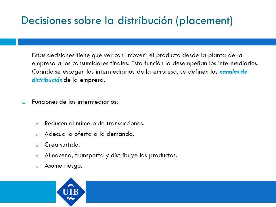 Decisiones sobre la distribución (placement)