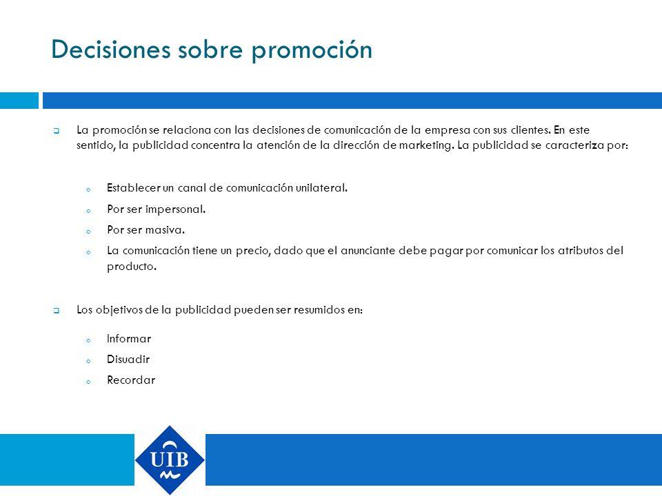 Decisiones sobre promoción