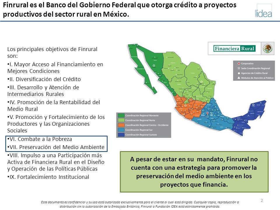 Finrural es el Banco del Gobierno Federal que otorga crédito a proyectos productivos del sector rural en México.