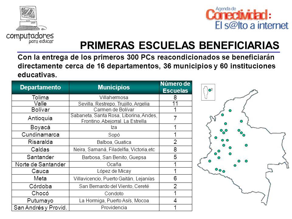 PRIMERAS ESCUELAS BENEFICIARIAS