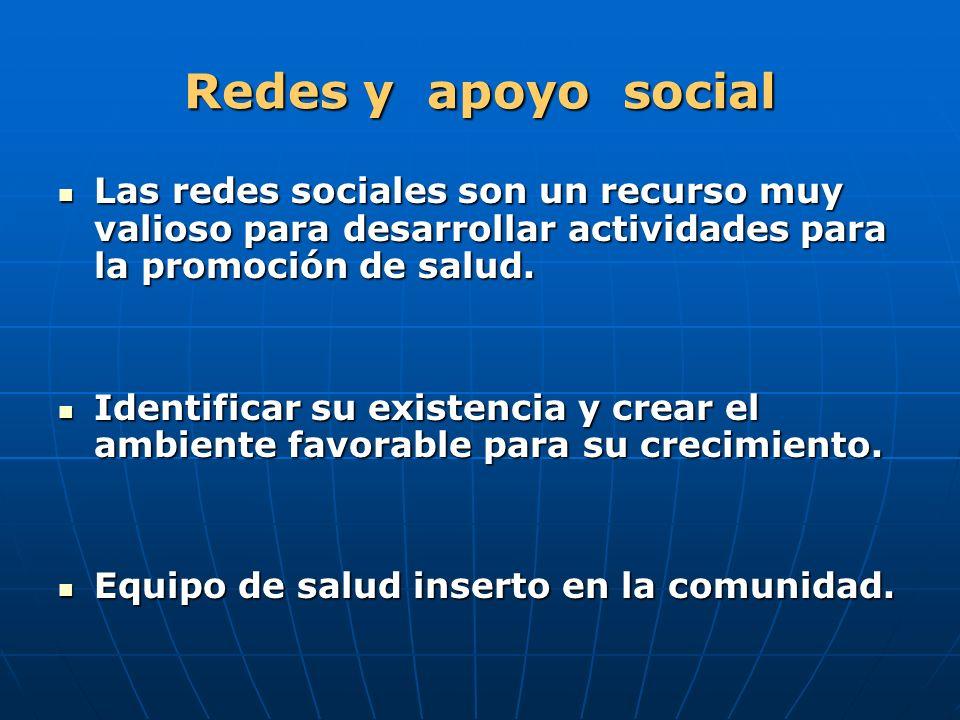 Redes y apoyo social Las redes sociales son un recurso muy valioso para desarrollar actividades para la promoción de salud.