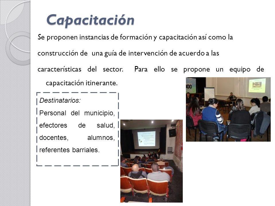 Capacitación Se proponen instancias de formación y capacitación así como la. construcción de una guía de intervención de acuerdo a las.