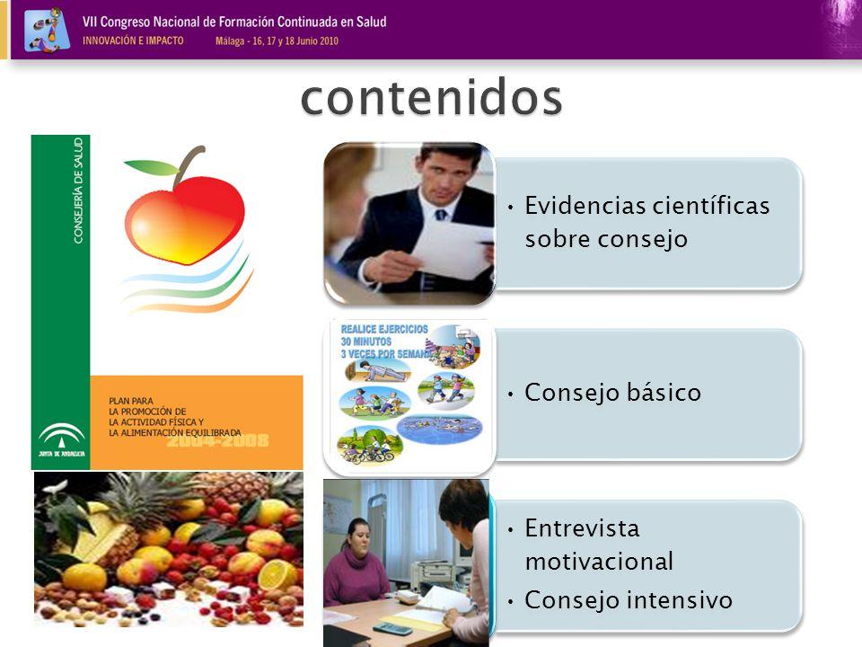 contenidos Evidencias científicas sobre consejo Consejo básico