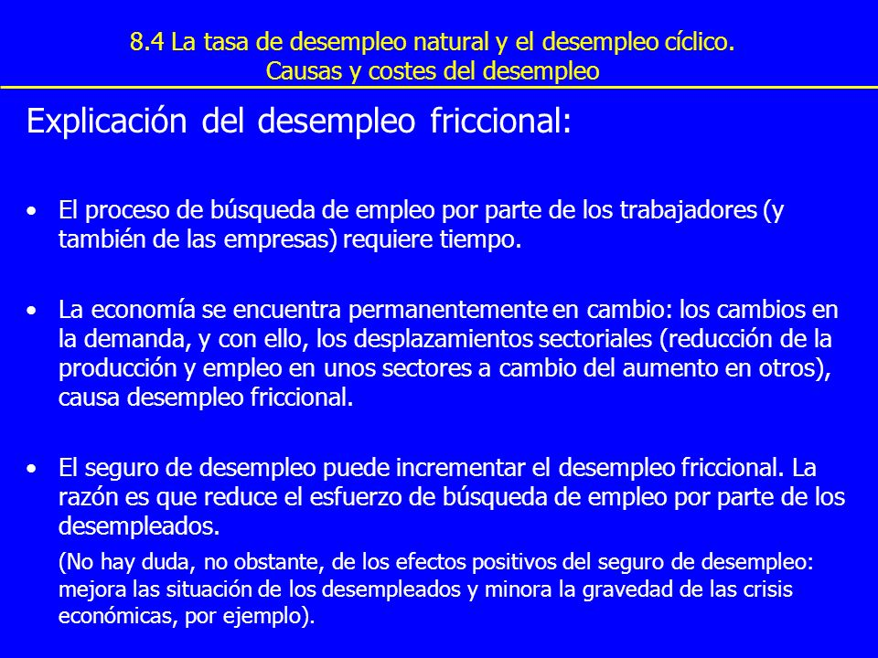 Explicación del desempleo friccional: