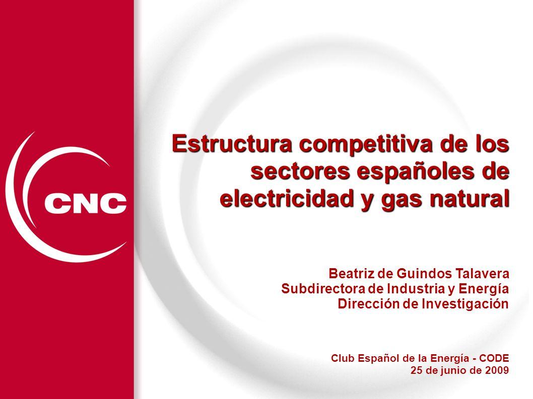 Estructura competitiva de los sectores españoles de electricidad y gas natural