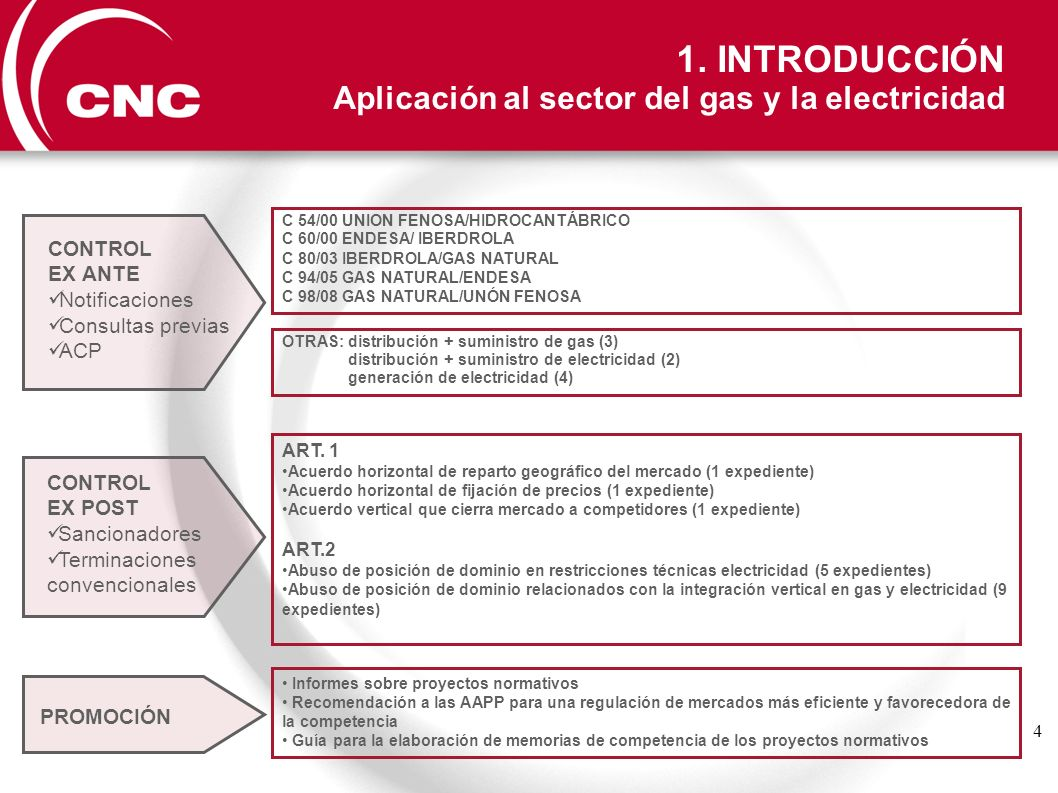 1. INTRODUCCIÓN Aplicación al sector del gas y la electricidad