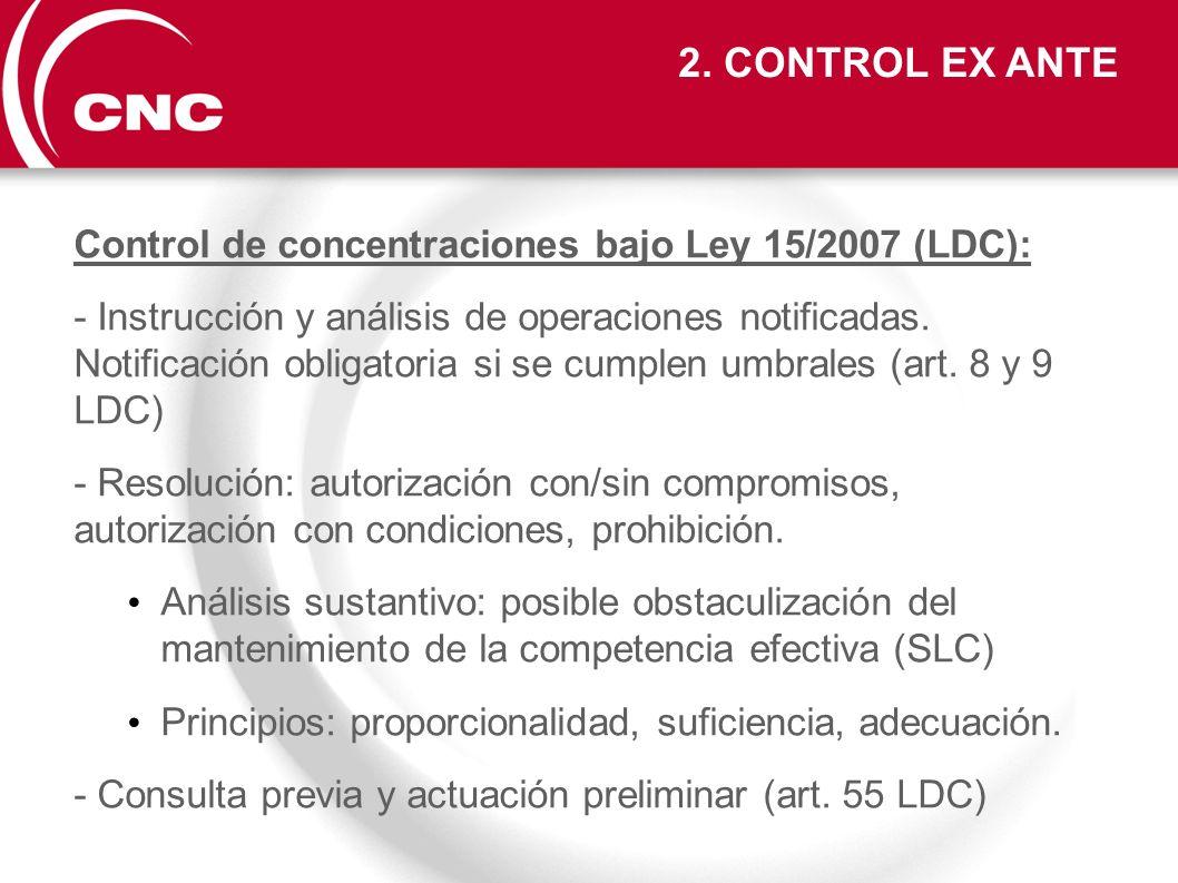 2. CONTROL EX ANTE Control de concentraciones bajo Ley 15/2007 (LDC):