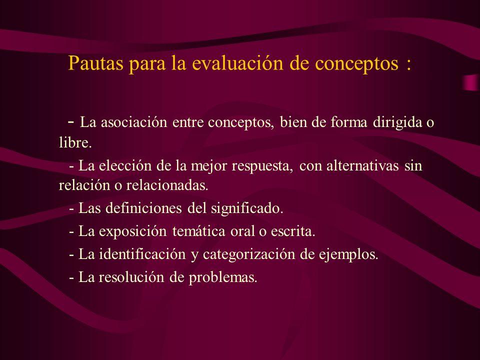 Pautas para la evaluación de conceptos :