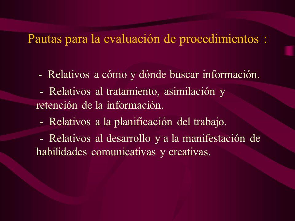 Pautas para la evaluación de procedimientos :