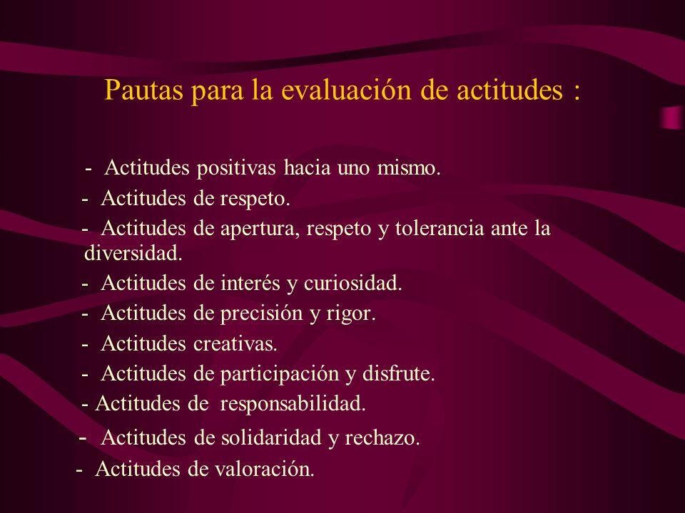 Pautas para la evaluación de actitudes :