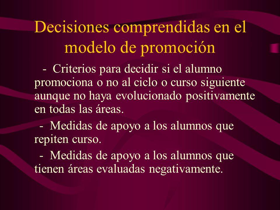 Decisiones comprendidas en el modelo de promoción