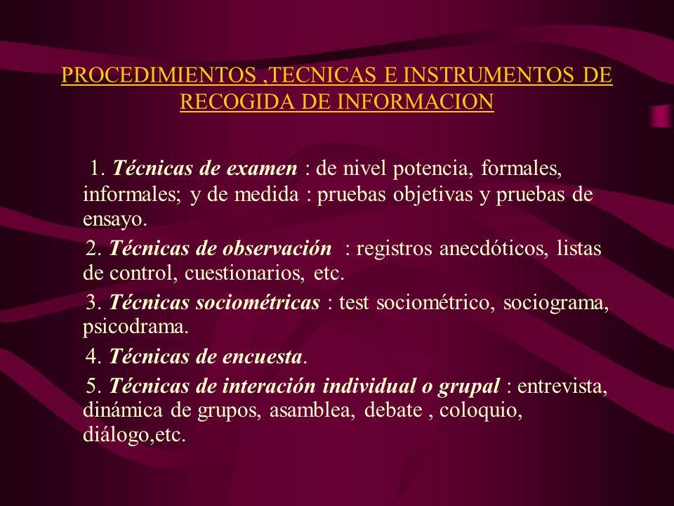 PROCEDIMIENTOS ,TECNICAS E INSTRUMENTOS DE RECOGIDA DE INFORMACION