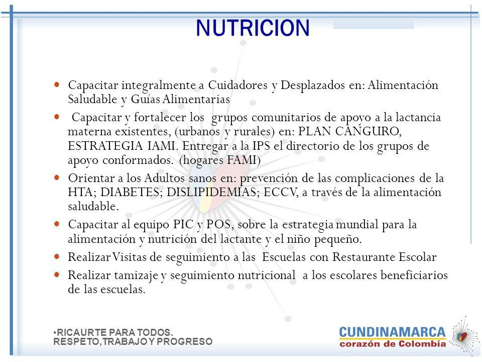 NUTRICION Capacitar integralmente a Cuidadores y Desplazados en: Alimentación Saludable y Guías Alimentarias.