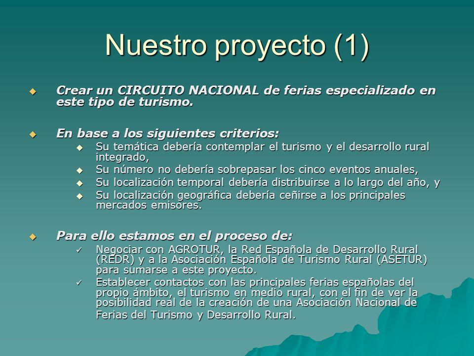 Nuestro proyecto (1) Crear un CIRCUITO NACIONAL de ferias especializado en este tipo de turismo. En base a los siguientes criterios:
