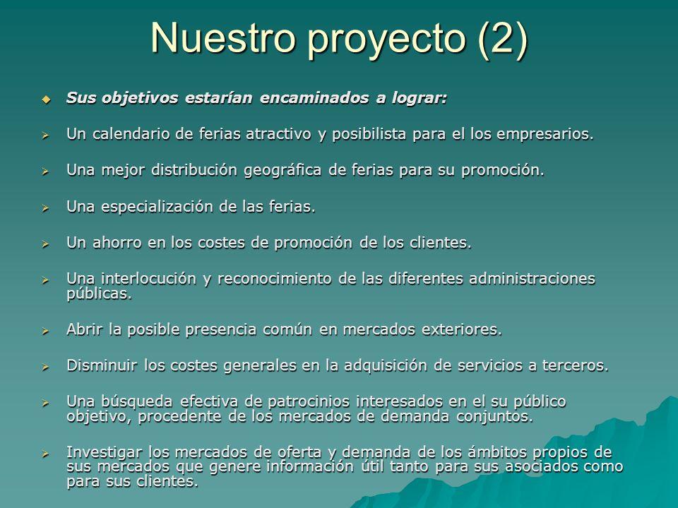 Nuestro proyecto (2) Sus objetivos estarían encaminados a lograr: