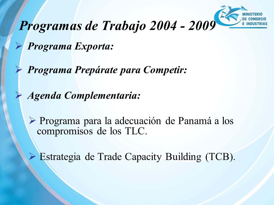 Programas de Trabajo 2004 - 2009 Programa Exporta: