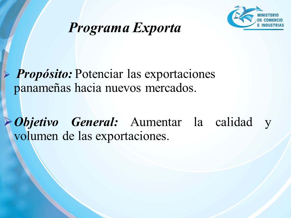 Programa Exporta Propósito: Potenciar las exportaciones panameñas hacia nuevos mercados.