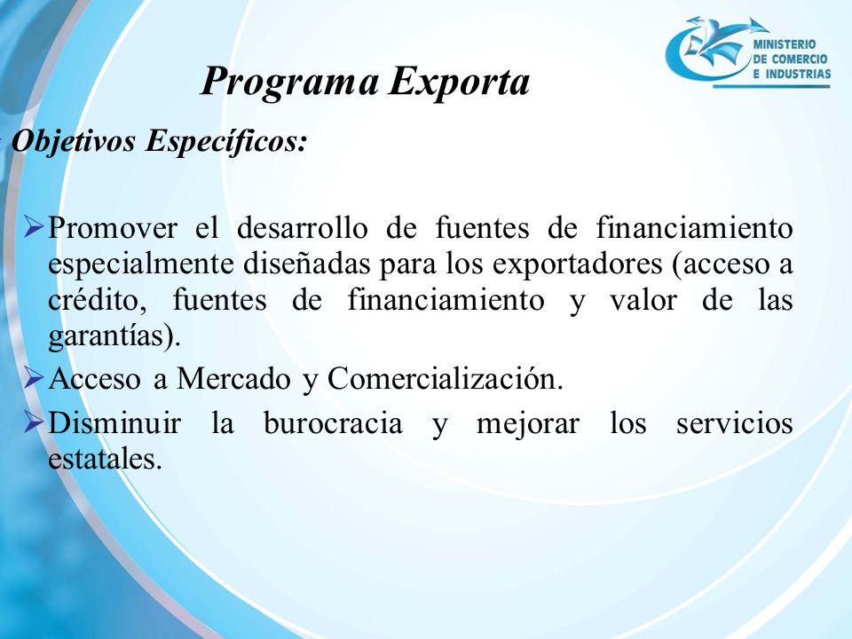 Programa Exporta Objetivos Específicos: