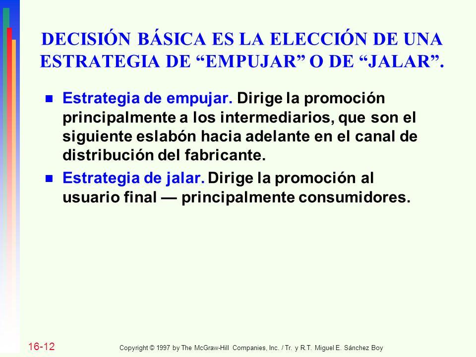 DECISIÓN BÁSICA ES LA ELECCIÓN DE UNA ESTRATEGIA DE EMPUJAR O DE JALAR .