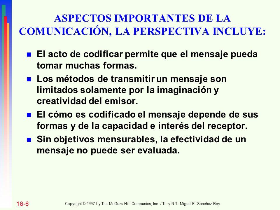ASPECTOS IMPORTANTES DE LA COMUNICACIÓN, LA PERSPECTIVA INCLUYE: