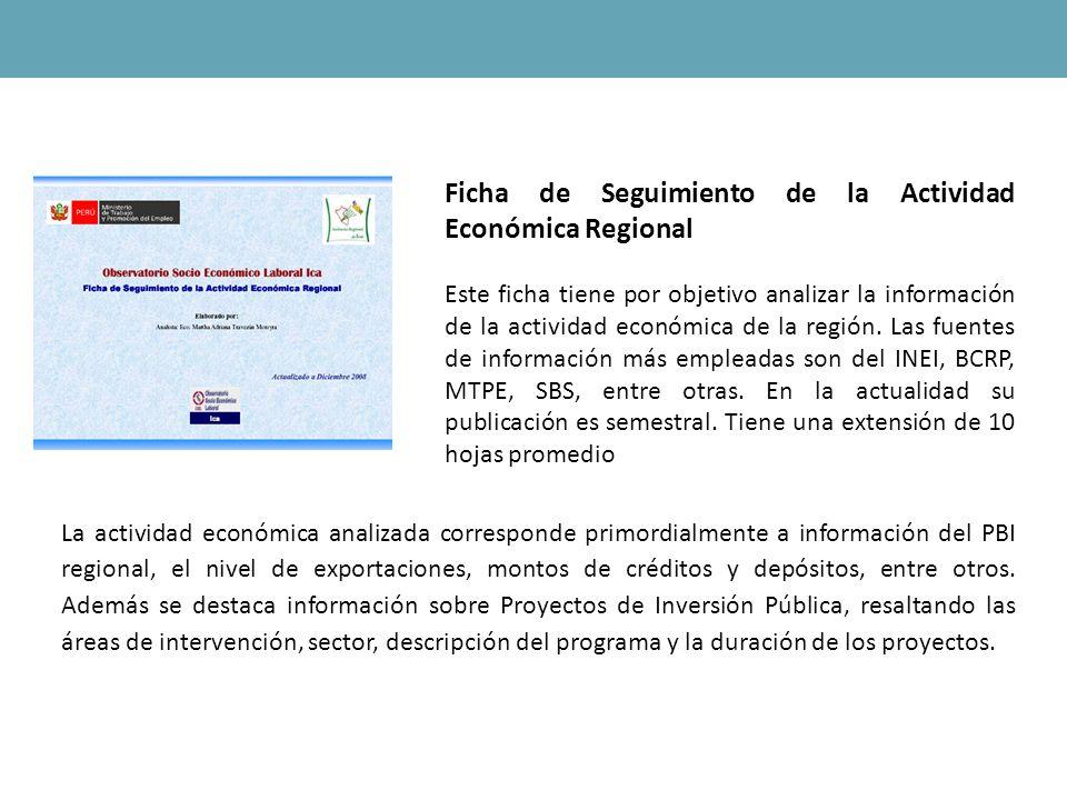 Ficha de Seguimiento de la Actividad Económica Regional