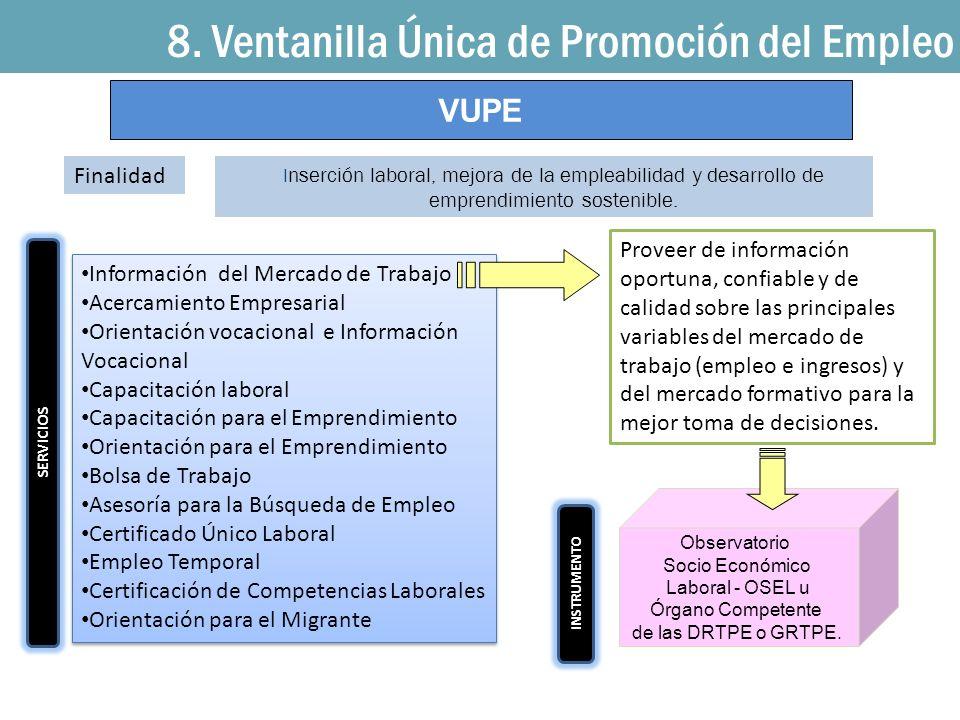 8. Ventanilla Única de Promoción del Empleo