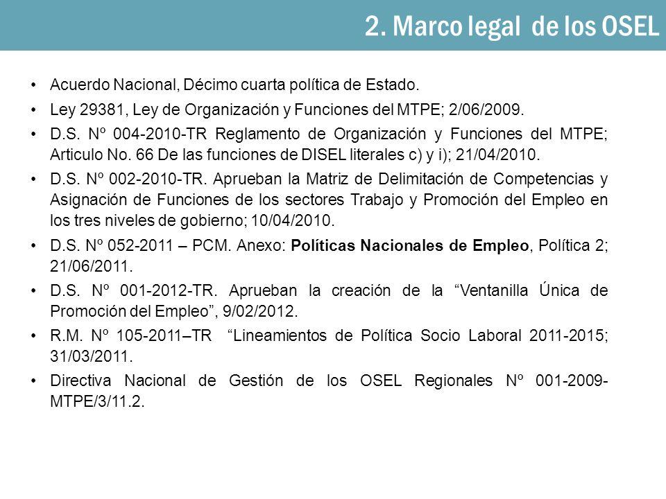 2. Marco legal de los OSEL Acuerdo Nacional, Décimo cuarta política de Estado. Ley 29381, Ley de Organización y Funciones del MTPE; 2/06/2009.