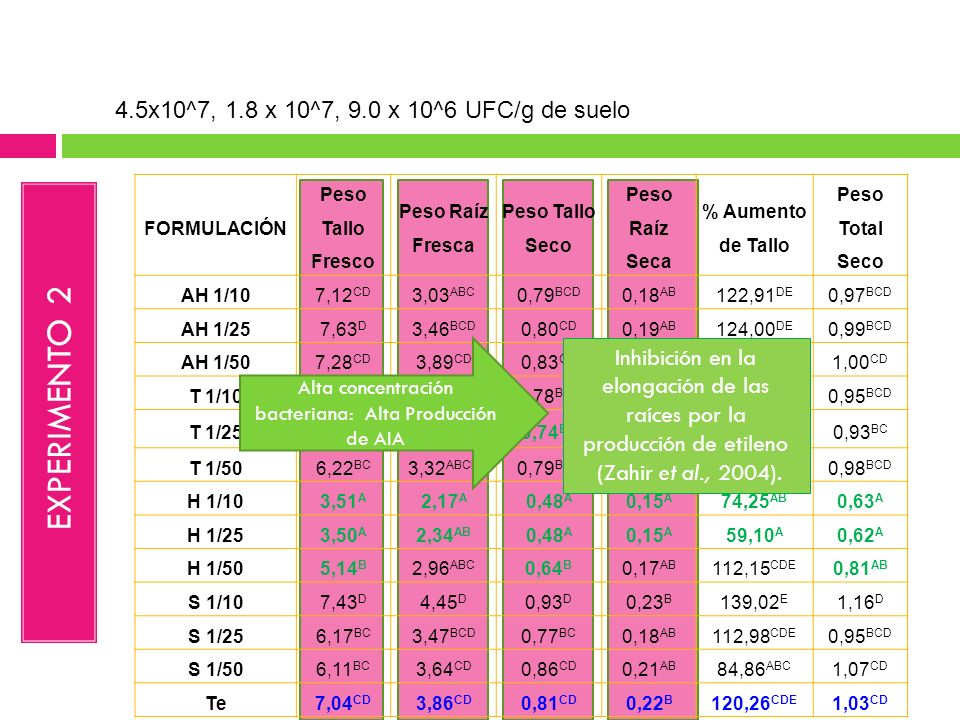 EXPERIMENTO 2 4.5x10^7, 1.8 x 10^7, 9.0 x 10^6 UFC/g de suelo
