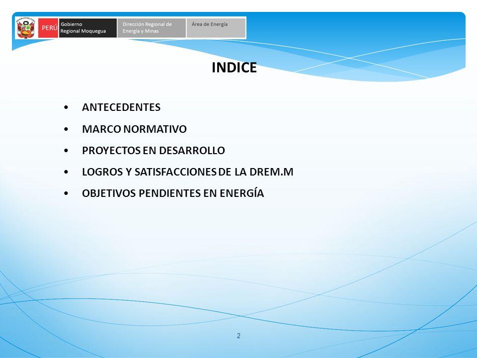 INDICE ANTECEDENTES MARCO NORMATIVO PROYECTOS EN DESARROLLO