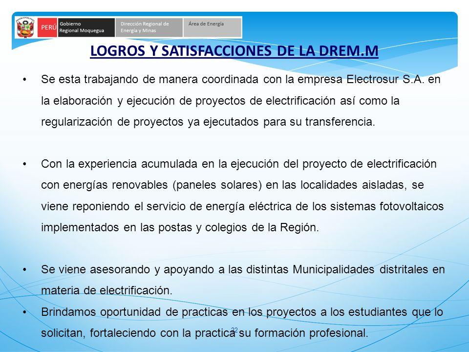LOGROS Y SATISFACCIONES DE LA DREM.M